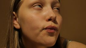 Sad teen girl thinking of something. 4K UHD. Native video stock video footage