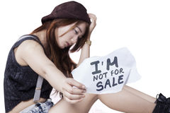 Sad teen girl victim of human trafficking Stock Images