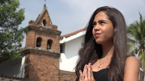 Sad Teen Hispanic Girl at Church. Stock video of sad teen girl at church stock footage
