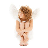 Sad teenage angel girl Stock Photography
