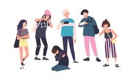 Sad teenage boy sitting on floor surrounded by classmates mocking him, scoffing, taking photos on smartphones. Problem stock illustration
