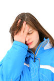 Sad teenage girl. Isolated on the white Stock Image