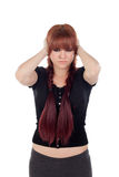Sad teenage girl dressed in black with a piercing Royalty Free Stock Image