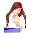 Sad teenage girl with tissues Royalty Free Stock Images