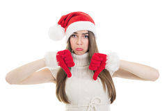 Sad teenage Santa showing thumbs down Stock Photos
