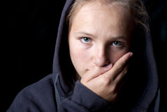 Sad teenager. Is in depression Stock Images