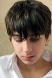 Sad Teenager. Portrait closeup with focus on eyes Royalty Free Stock Photography