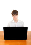 Sad Teenager behind Laptop Stock Image
