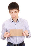 Sad Teenager with Blank Cardboard Royalty Free Stock Images