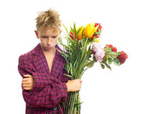 Sad teenager with bouquet Stock Image