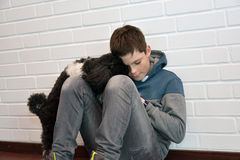 Sad teenager boy. Depressed teenage boy sitting on the floor comforted by his little dog Stock Photography