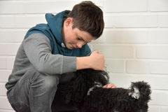 Sad teenager boy. Depressed teenage boy sitting on the floor comforted by his little dog Stock Photos