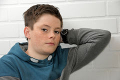 Sad teenager boy. Portrait of a depressed teenage boy Stock Photos