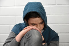 Sad teenager boy. Portrait of a depressed teenage boy Stock Photography