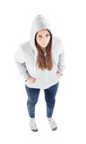 Sad teenager girl with gray sweatshirt hooded Royalty Free Stock Photos