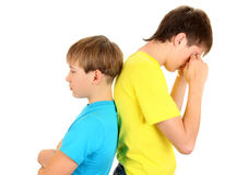 Sad Teenager and Kid Royalty Free Stock Photography
