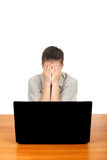 Sad Teenager with Laptop Royalty Free Stock Photography