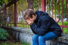 Sad Teenager outdoor Stock Images