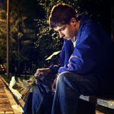 Sad Teenager in the Park Royalty Free Stock Image
