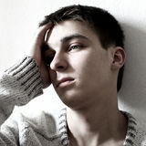 Sad Teenager. Portrait closeup on the White Background Royalty Free Stock Photos