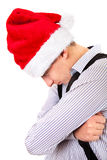 Sad Teenager in Santa Hat Stock Photo