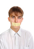 Sad Teenager with Sealed Mouth Royalty Free Stock Photography