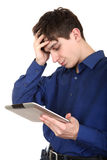 Sad Teenager with Tablet Stock Photography