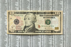 Sad ten dollar bill. Stock Image