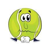 Sad tennis ball cartoon Royalty Free Stock Photos