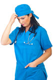 Sad thinker surgeon woman stock photos