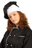 Sad thinking chef woman Royalty Free Stock Images