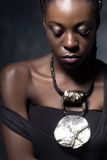 Sad and thoughtful fashion African woman Royalty Free Stock Image