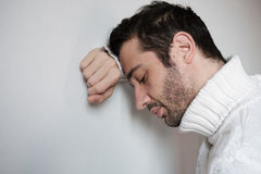 Sad and thoughtful man portrait  , closeup on the face. Royalty Free Stock Photo