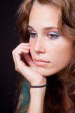 Sad thoughtful pensive woman Stock Image