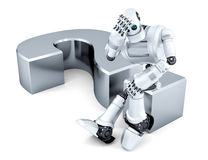 Sad thoughtful robot sitting on question mark. Isolated. Contains clipping path Royalty Free Stock Photos