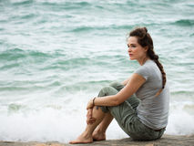 Sad thoughtful woman Royalty Free Stock Image