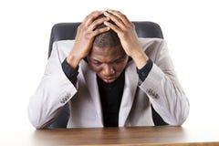 Sad, tired or depressed businessman Stock Photo