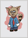 Sad tired raccoon in red tie Stock Photos