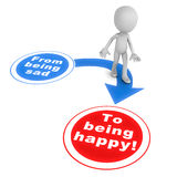 Sad to happy. From being sad to being happy concept, little 3d man walking from the negative banner to the positive one, white background vector illustration