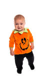 Sad Toddler dressed as a pumpkin for Halloween Royalty Free Stock Photos