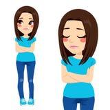 SAD tonåring för flicka royaltyfri illustrationer
