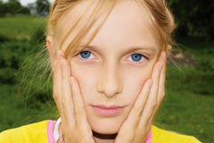 SAD tonåring för flicka Fotografering för Bildbyråer