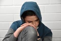 SAD tonåring för pojke Arkivbild