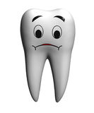 Sad tooth. Isolated on white stock illustration