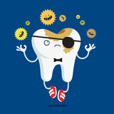 Sad tooth affected by caries Stock Photos