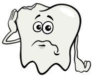 Sad tooth cartoon character with cavity Royalty Free Stock Photos