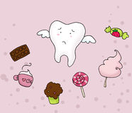 Sad tooth and sweets. A sad tooth fly away from many sweets. Digital Royalty Free Stock Photography