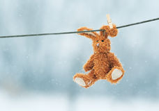 Sad toy rabbit hanging from a rope in the snow Royalty Free Stock Photography