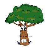 Sad tree cartoon Stock Photography
