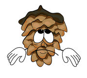 Sad tree pine cone cartoon character Royalty Free Stock Image